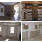 Tavistock Farms - pictures of several rooms on the first floor of Community Center. The top right picture shows the fireplace in the main room.